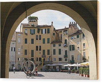 Piazza Antifeatro Lucca Wood Print by Mathew Lodge