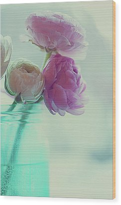 Pink And White Ranunculus Flowers In Vase Wood Print by Isabelle Lafrance Photography