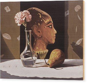 Pink Carnation And Egyptian Head Wood Print by Daniel Montoya