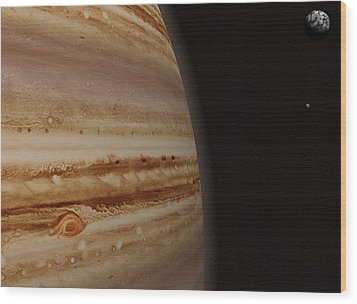 Planet Jupiter And A Distant Moon Wood Print by Jason Reed