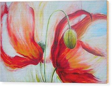 Poppies. Wood Print by Jacqueline Klein Breteler