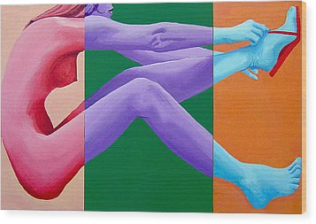 Putting On Shoes Triptych Wood Print by Geoff Greene