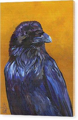 Raven Wood Print by J W Baker