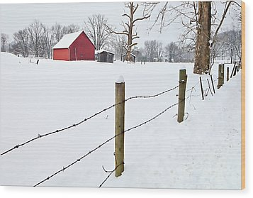 Red Barn And Fresh Snow - D006392a Wood Print by Daniel Dempster