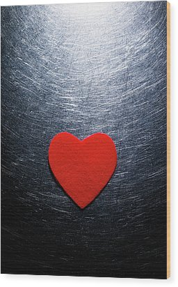 Red Felt Heart On Stainless Steel Background. Wood Print by Ballyscanlon