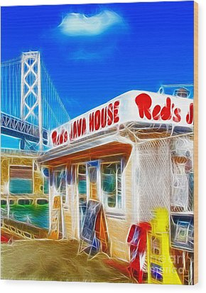 Red's Java House Electrified Wood Print by Wingsdomain Art and Photography