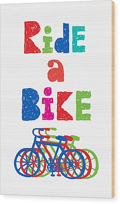 Ride A Bike - Sketchy  Wood Print by Andi Bird