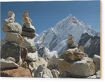 Rock Piles In The Himalayas Wood Print by Shanna Baker
