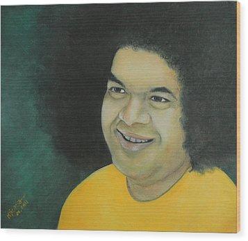 Sai Baba In Memoriam Wood Print by Desiree Micaela