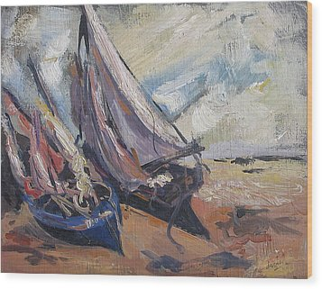 Wood Print featuring the painting Sail Boats by Debora Cardaci