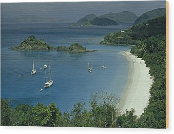 Sailing Yachts Anchor Off Of A Pristine Wood Print by James L. Stanfield