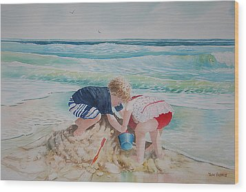 Saving The Sand Castle From The Tide Wood Print by Tom Harris