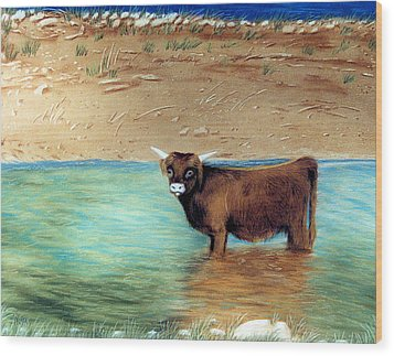 Wood Print featuring the pastel Scottish Highland Bull by Jan Amiss