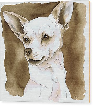 Sepia Tone Chihuahua Dog Wood Print by Cherilynn Wood