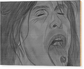 Sexy Steven Tyler Portrait Wood Print by Jeepee Aero