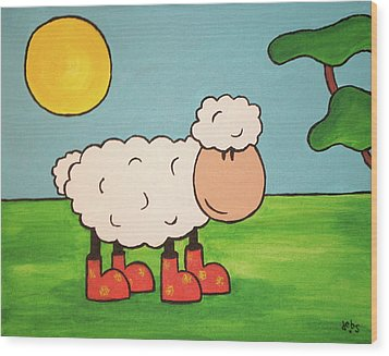 Wood Print featuring the painting Sheeep by Sheep McTavish