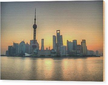 Skyline At Sunrise Wood Print by Photo by Dan Goldberger