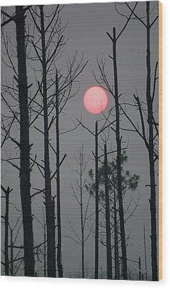 Smokey Sunset Wood Print by Dodie Ulery