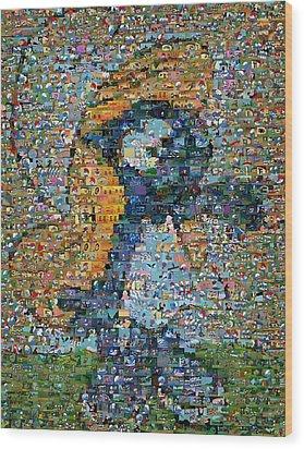 Smurfette The Smurfs Mosaic Wood Print by Paul Van Scott
