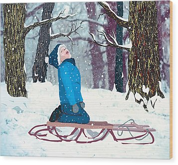 Snow Trance Wood Print by Terry Cork