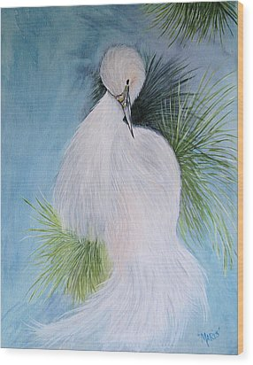 Snowy Egret Wood Print by Maris Sherwood