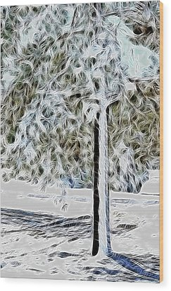 Snowy Tree Wood Print