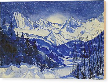 South Lake Blue Wood Print by Pat Crowther