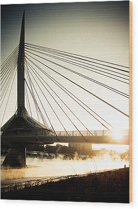 St. Boniface Bridge At Winter Sunrise Wood Print by Michael Knight