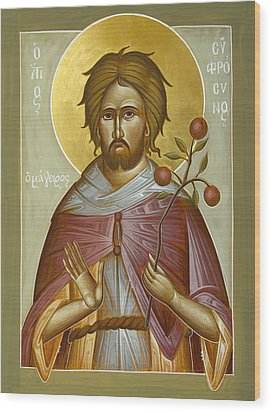 St Euphrosynos The Cook Wood Print by Julia Bridget Hayes
