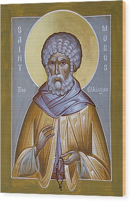 St Moses The Ethiopian Wood Print by Julia Bridget Hayes