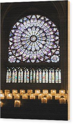 Stained Glass Window Of Notre Dame De Paris. France Wood Print by Bernard Jaubert