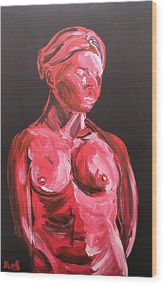 Standing Nude In Red Wood Print