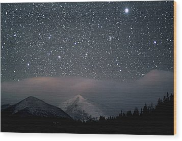 Stars Over Rocky Mountain National Park Wood Print by Pat Gaines