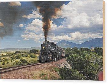 Steaming Towards La Veta Wood Print