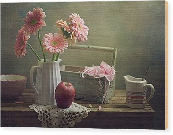 Still Life With Pink Gerberas And Red Apple Wood Print by Copyright Anna Nemoy(Xaomena)