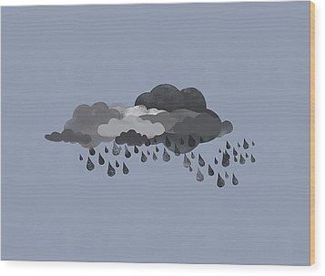 Storm Clouds And Rain Wood Print by Jutta Kuss