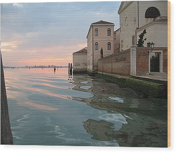 Sunrise On Isola Di San Clemente Venice Wood Print by Harry Mason