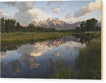 Sunrise Reflection At Schwabacher Landing  Wood Print by Paul Cannon