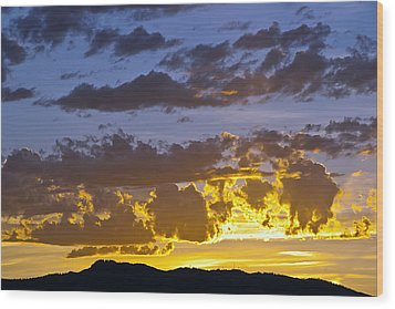 Sunset Over Horsetooth Rock Wood Print by Harry Strharsky
