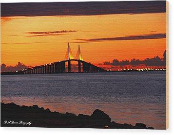 Sunset Over The Skyway Bridge Wood Print