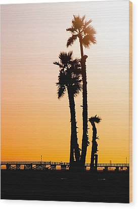 Sunset Palms Wood Print