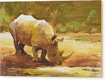 Sunset Rhino Wood Print by Brian Kesinger
