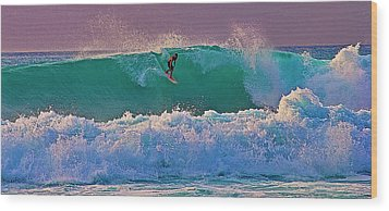 Surfing A-bay At Sunset Wood Print