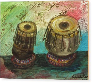 Wood Print featuring the painting Tabla X 2 by Amanda Dinan