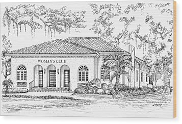 Tallahassee Womens Club Wood Print by Audrey Peaty