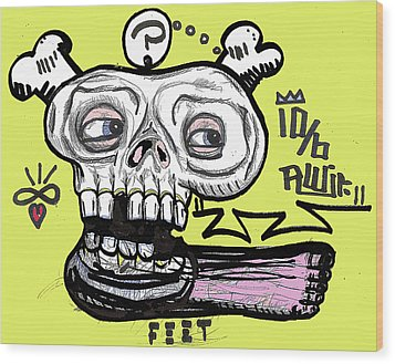 Think On Your Feet Wood Print by Robert Wolverton Jr