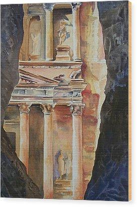 Through The Siq Wood Print by Celene Terry