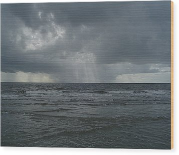 Thunderstorm Over The Ocean Wood Print by Richard Marcus