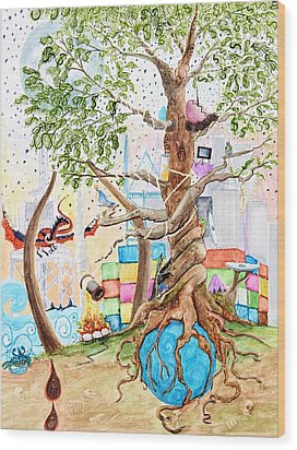 Tree Of Life Spent Wood Print by Pauline Ross