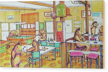 Trout Hotel Canvastown Wood Print by Barbara Stirrup